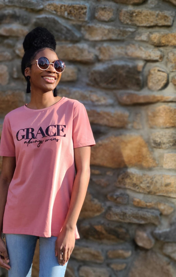 Grace Always Wins | Peach |  High-Low Loose Fit T-Shirt