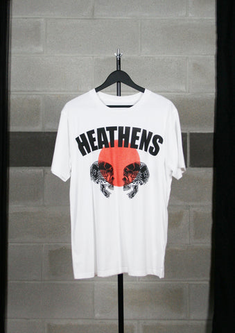 "Heathens "" Red Dot Double Skull"" Unisex Tshirt"