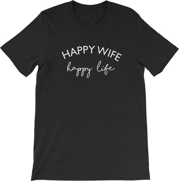 HAPPY WIFE HAPPY LIFE BLACK | Get CUTE WITH US | CUTE + TEES
