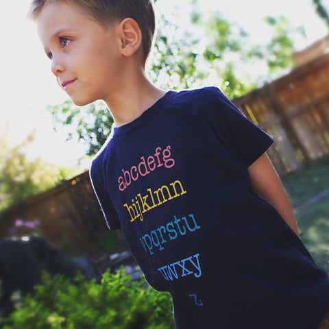 Alphabet T-Shirt | Unisex Kids Navy T-Shirt - little cutees - 1