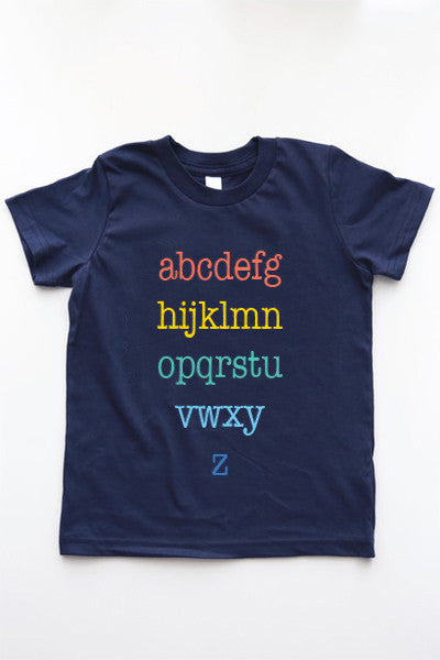 Alphabet T-Shirt | Unisex Kids Navy T-Shirt - little cutees - 3