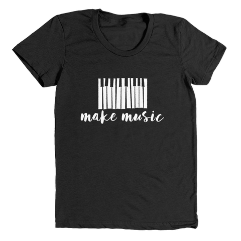 make music | women's heather black t-shirt - little cutees
