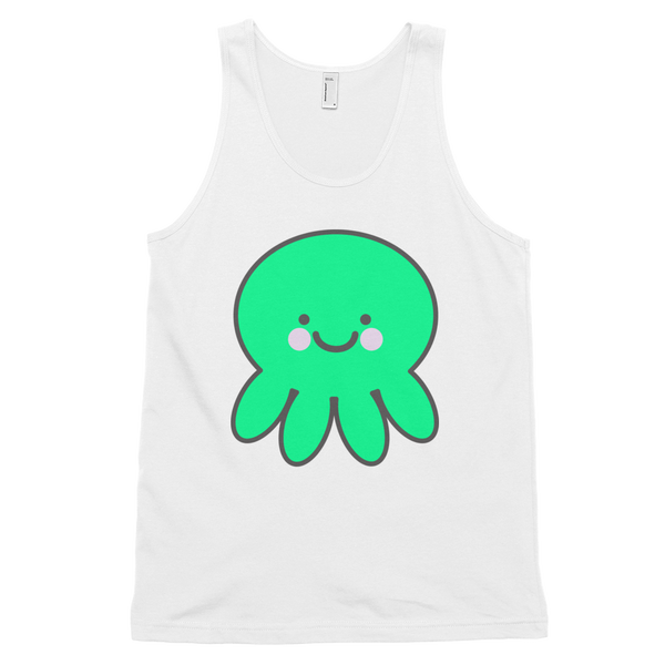 CUTE Kawaii Octopus White Graphic Tank Top Shirt | Unisex Adults - little cutees - 2