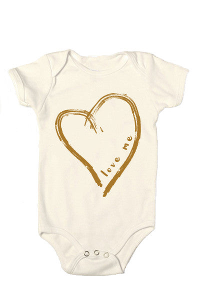 love me | cinnamon-caramel heart | baby onesie - little cutees - 1