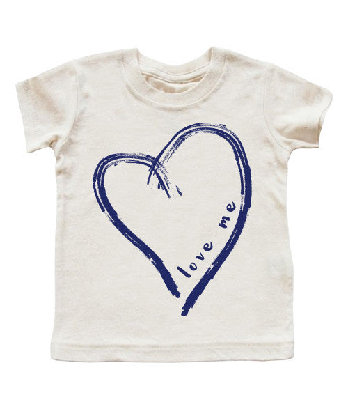 love me | blue brush heart | kids t-shirt - little cutees - 1