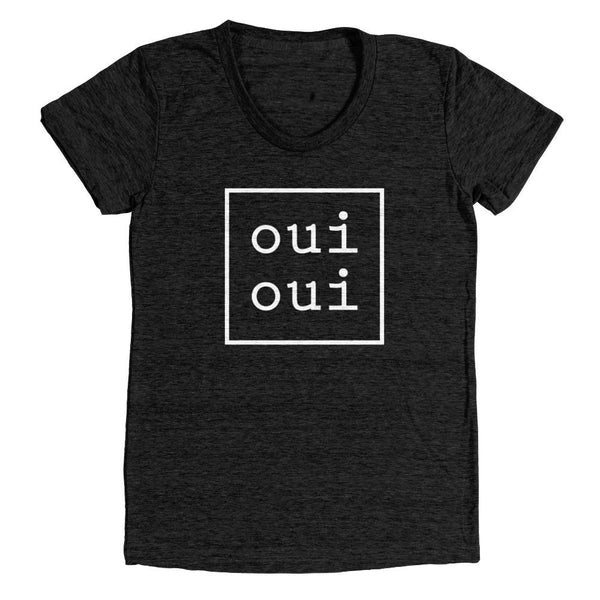 oui oui T-Shirt | Women's Black Tri-Blend T-Shirt - little cutees