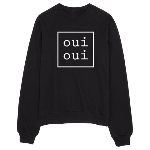 oui oui sweatshirt, sweater, pullover | women's black sweatshirt - little cutees