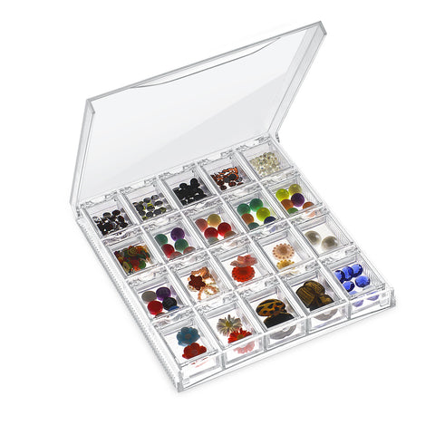 Clear Transparent Bead Accessory Storage Organizer with 20 Small Plastic Boxes Container - OneDor