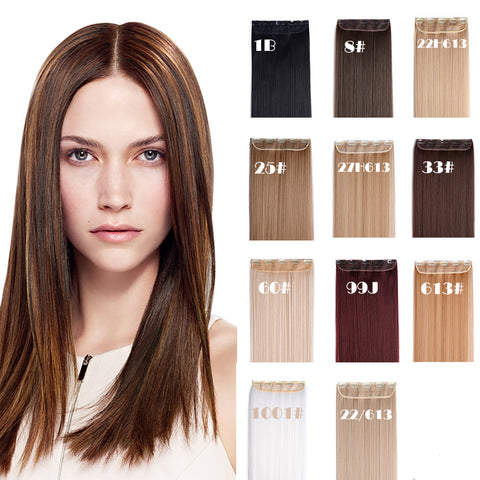 "24"" Straight 3/4 Full Head Synthetic Hair Extensions Clip on Hairpieces 5 Clips - OneDor"