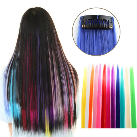 "23"" Straight Colored Party Highlight Clip on in Hair Extensions Multiple Colors - OneDor"