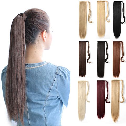 "24"" Straight Wrap Around Ponytail Extension for Women - Synthetic Hair - OneDor"