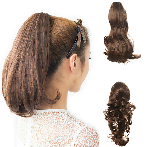"15"" Dual Use Curly Styled Clip in Claw Ponytail Hair Extension Synthetic Hairpiece with a Jaw/claw Clip"