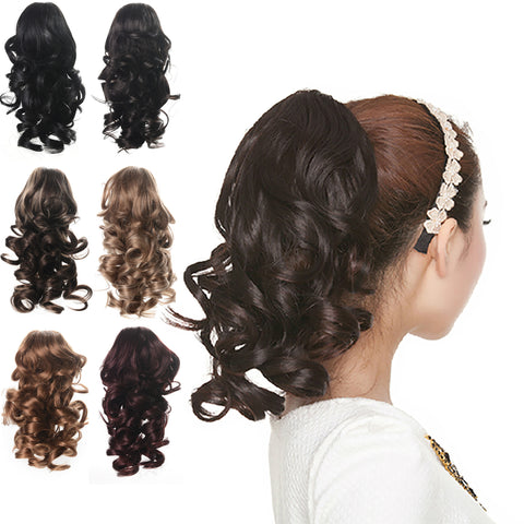 "12"" Curly Synthetic Clip In Claw Ponytail Hair Extension Synthetic Hairpiece with a jaw/claw clip - OneDor"