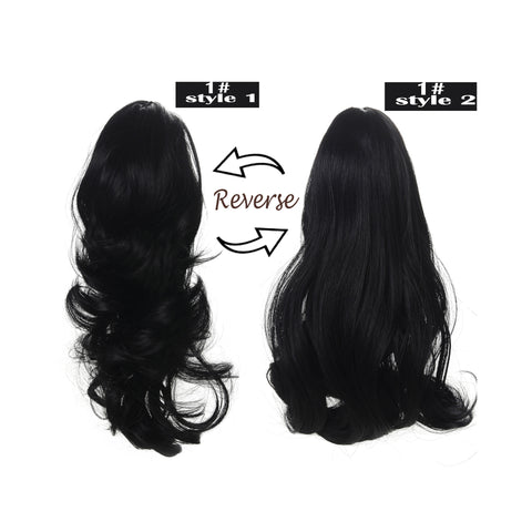 "15"" Dual Use Curly Styled Clip in Claw Ponytail Hair Extension Synthetic Hairpiece with a Jaw/claw Clip - OneDor"