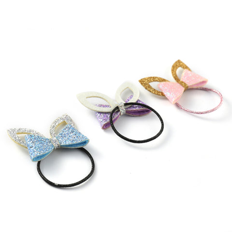 Baby Girls Shiny Ear & Bow Tie Hair Clips Barrettes for kids (6 Pieces) - OneDor