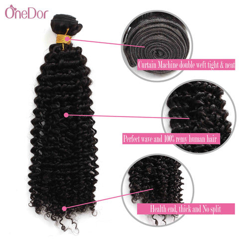 Unprocessed Virgin Mongolian Afro Kinky Curly Human Hair Weave Extensions for Black Women Natural Black 100g/Bundle - OneDor