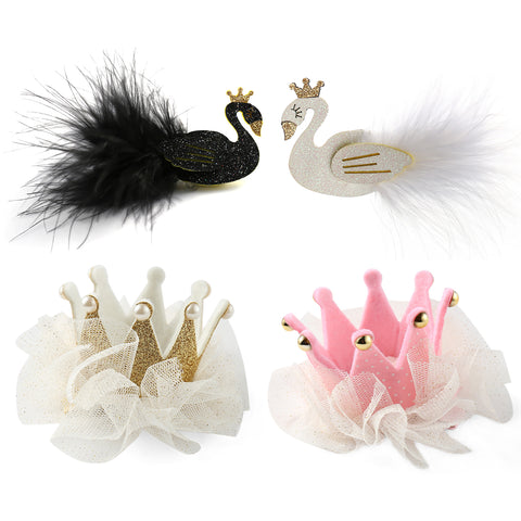 Baby Girls Crown & Swan Hair Bows Clips Barrettes for Teens kids Toddlers - OneDor