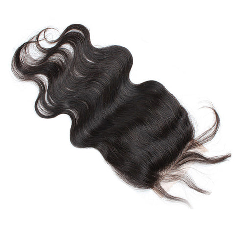"Virgin Brazilian Afro Human Hair Bleached Knots Free Part Body Wave Lace Closure Natural Black 4"" x 4"""