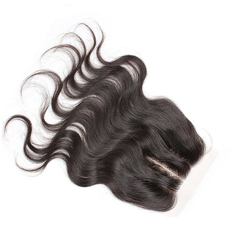 "Virgin Brazilian Afro Human Hair Bleached Knots Three Part Body Wave Lace Closure Natural Black 4"" x 4"""