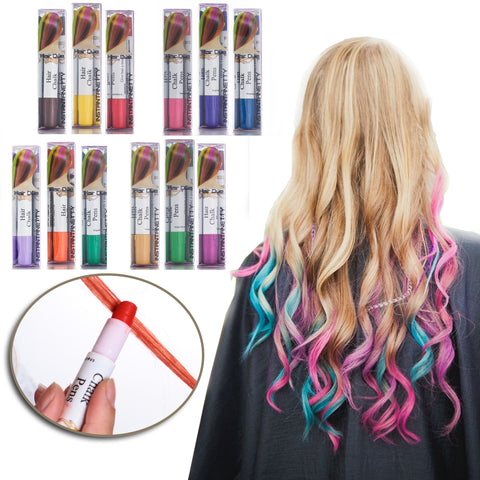 Professional Waxy Hair Chalk Pens Hair Chalk Salon Temporary Hair Color Dye Touch-up