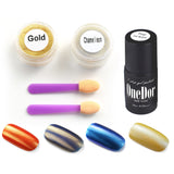 Chrome Shinning Glitter Mirror Nail Powder & No Wipe Gel Top Coat - UV Led Cured Required