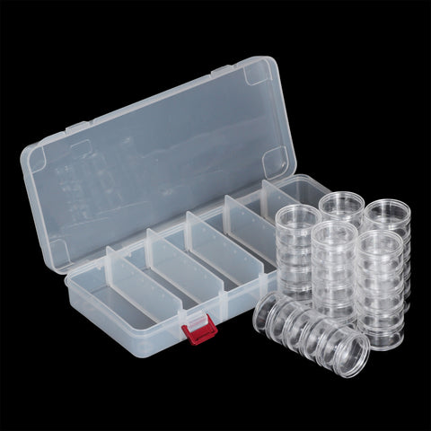 Clear Transparent Bead Accessory Storage Organizer with 30 Small Plastic Stackable Jars Container