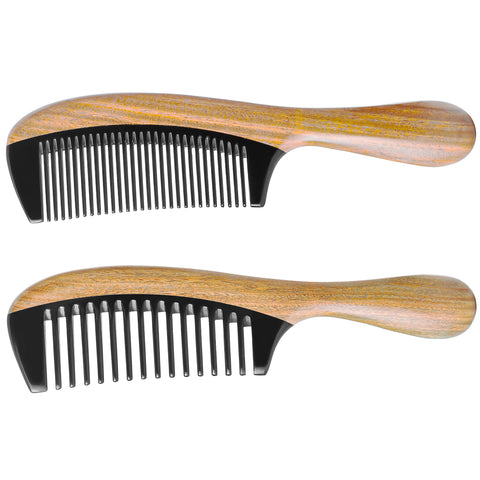Extra Length Handmade 100% Natural Green Sandalwood With Buffalo Horn Fine Tooth Hair Combs - Anti-Static Sandalwood Scent Natural Hair Detangler Wooden Comb