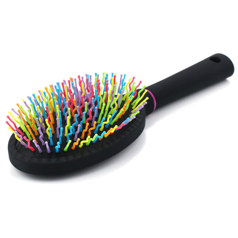 Rainbow S-Curve Ball tipped Bristles Air Volume Hair Brush with Flexible Cushion Base - OneDor