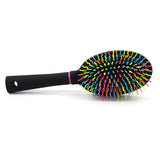 Rainbow S-Curve Ball tipped Bristles Air Volume Hair Brush with Flexible Cushion Base