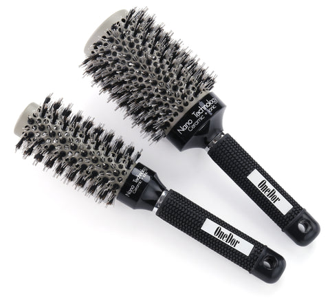 Round Vented Nano Thermal Ceramic & Ionic Hair Brush with Natural Boar Bristles - OneDor