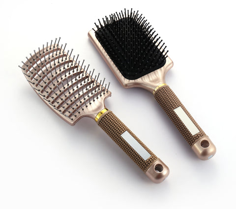 Ball tipped Air Volum Hair Brush with Flexible Cushion Base & Curved Barrel Detangling Hair Brush for Women Long, Thick, Thin, Curly & Tangled Hair - OneDor