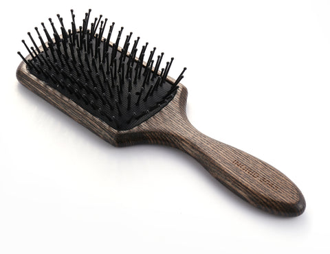 Ball tipped Air Volum Wood Hair Brush with Flexible Cushion Base