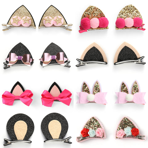 Baby Girls Cat Ear Hair Bows Clips Barrettes for kids Toddlers Children - OneDor