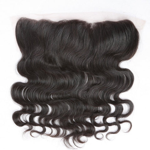 Virgin Brazilian Afro Human Hair Bleached Knots Body Wave Lace Frontal 13x4 Ear to Ear Natural Color