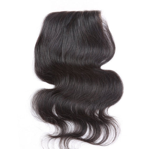 "Virgin Brazilian Afro Human Hair Bleached Knots Body Wave Free Part Silk Base Lace Closure Natural Black 4"" x 4"" - OneDor"