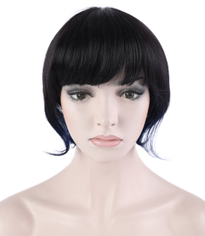 10 Inches Straight Cosplay Costume Short Wig with Blue Strands of Hair - OneDor