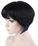 10 Inches Straight Cosplay Costume Short Wig with Blue Strands of Hair