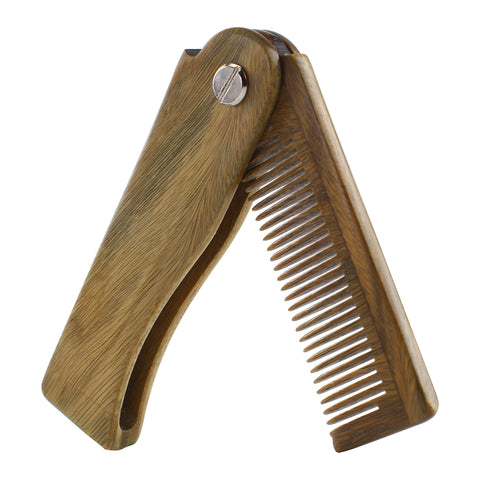 Sandalwood Fine Tooth Folding Brush Comb for Men Hair, Beard, and Mustache Styling, Pocket sized for Easy Carry - OneDor