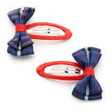Tartan Pattern & Shiny Grosgrain Hair Barrettes Bow Ribbon Clip sets for Babies, Toddlers, Young Girls, and Children