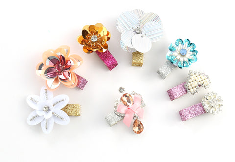 Baby Girls Shiny Flowers Hair Clips Barrettes for kids Toddlers Children (8 Hair Clips)