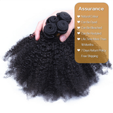 Unprocessed Virgin Mongolian Afro Kinky Curly Human Hair Weave Extensions for Black Women Natural Black 100g/Bundle