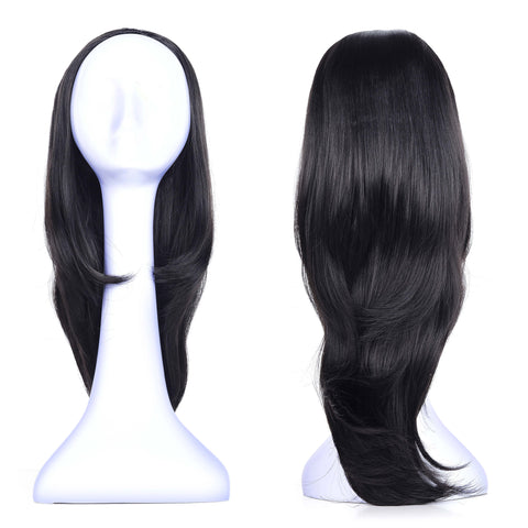 Ladies Curly 3/4 Half Wig Kanekalon Hair Synthetic Wigs with Comb on a Mesh Head Cap - OneDor
