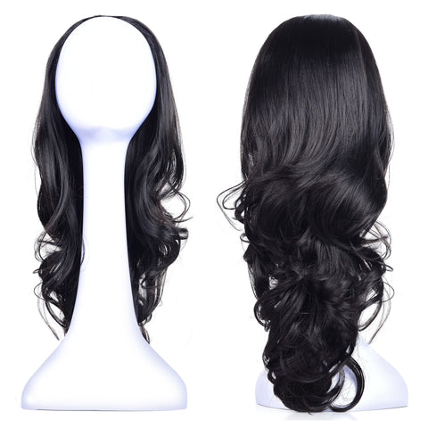 "23"" Curly 3/4 Ladies Half Wig Kanekalon Hair Synthetic Wigs with Comb on a Mesh Head Cap - OneDor"