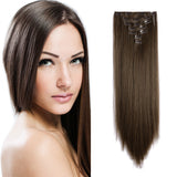 "24"" Straight Full Head Clip in Synthetic Hair Extensions 7pcs"