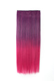 "24"" Straight - 3/4 Full Head Dip-dye Two Tone Color Synthetic Clip In Hair Extensions"