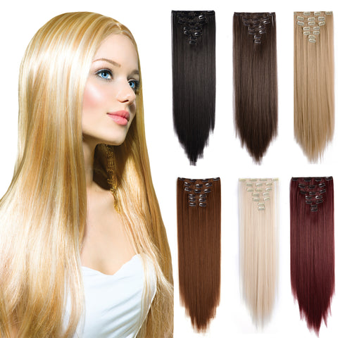 "24"" Straight Full Head Kanekalon Futura Heat Resistance Hair Extensions Clip on in Hairpieces 7pcs"
