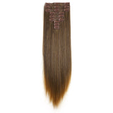 "20"" Straight Full Head 9 Hair-Pieces Kanekalon Futura Heat Resistance Clip in Hair Extension"