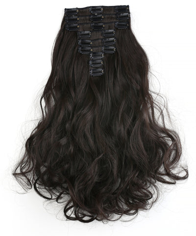 "20"" Curly Full Head 9 Hair-Pieces Kanekalon Futura Heat Resistance Clip in Hair Extension - OneDor"