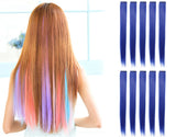 "23"" Straight Colored Party Highlight Clip on in Hair Extensions Multiple Colors"