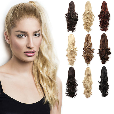 "20"" Curly Synthetic Clip In Claw Drawstring Ponytail Hair Extension Synthetic Hairpiece with a jaw/claw clip - OneDor"